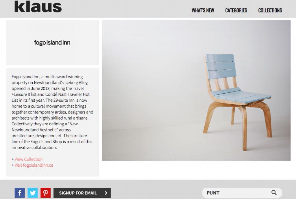 Klaus Punt Chair Fogo Island